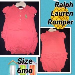 Ralph Lauren Girls Pink Rumper size 6mo